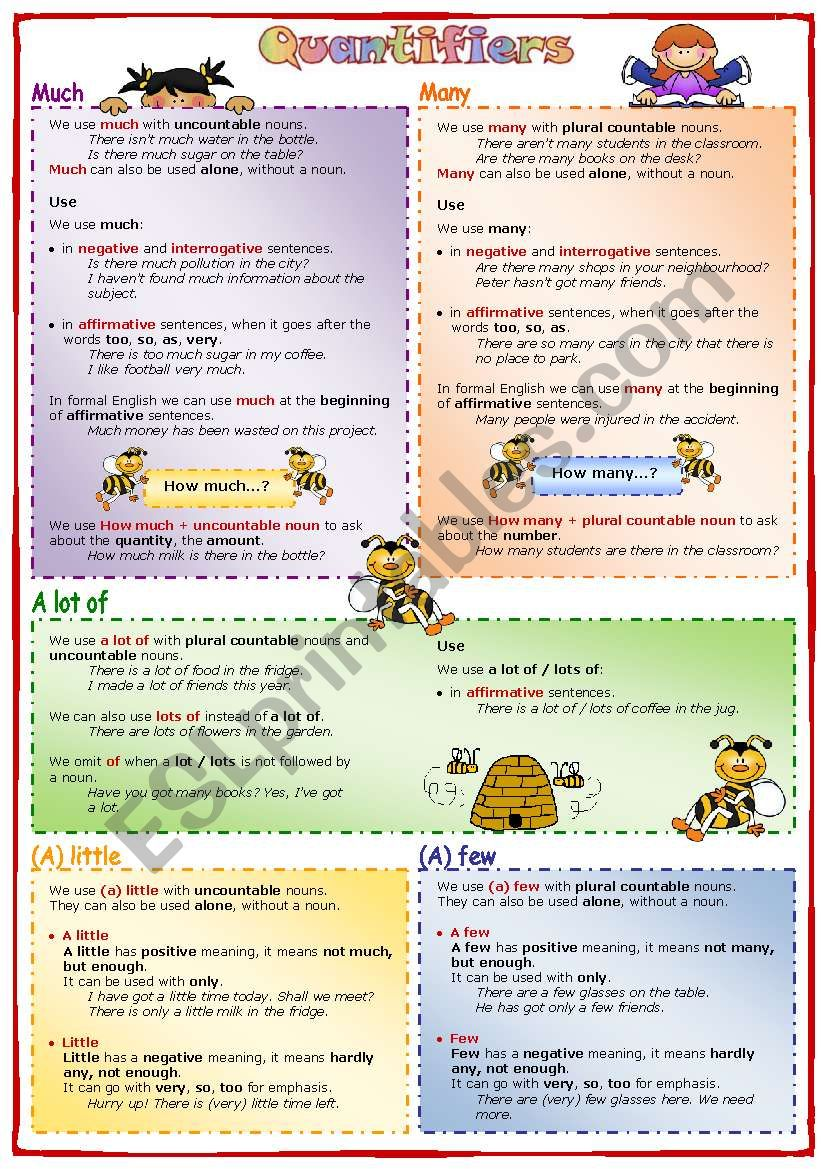 Quantifiers (2): much, many, a lot of, (a) little, (a) few