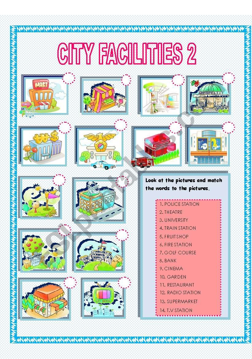 CITY FACILITIES 2 - ESL worksheet by Rosario Pacheco