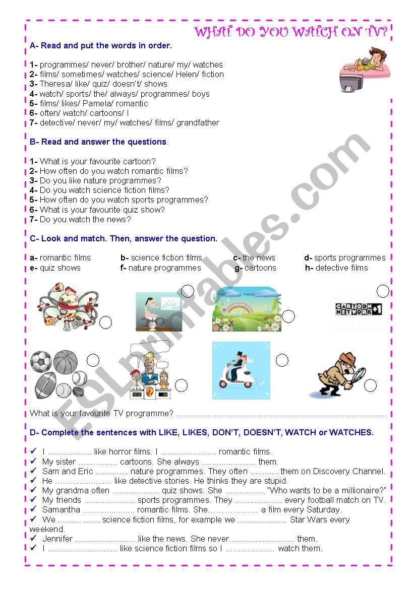TV programmes =) worksheet