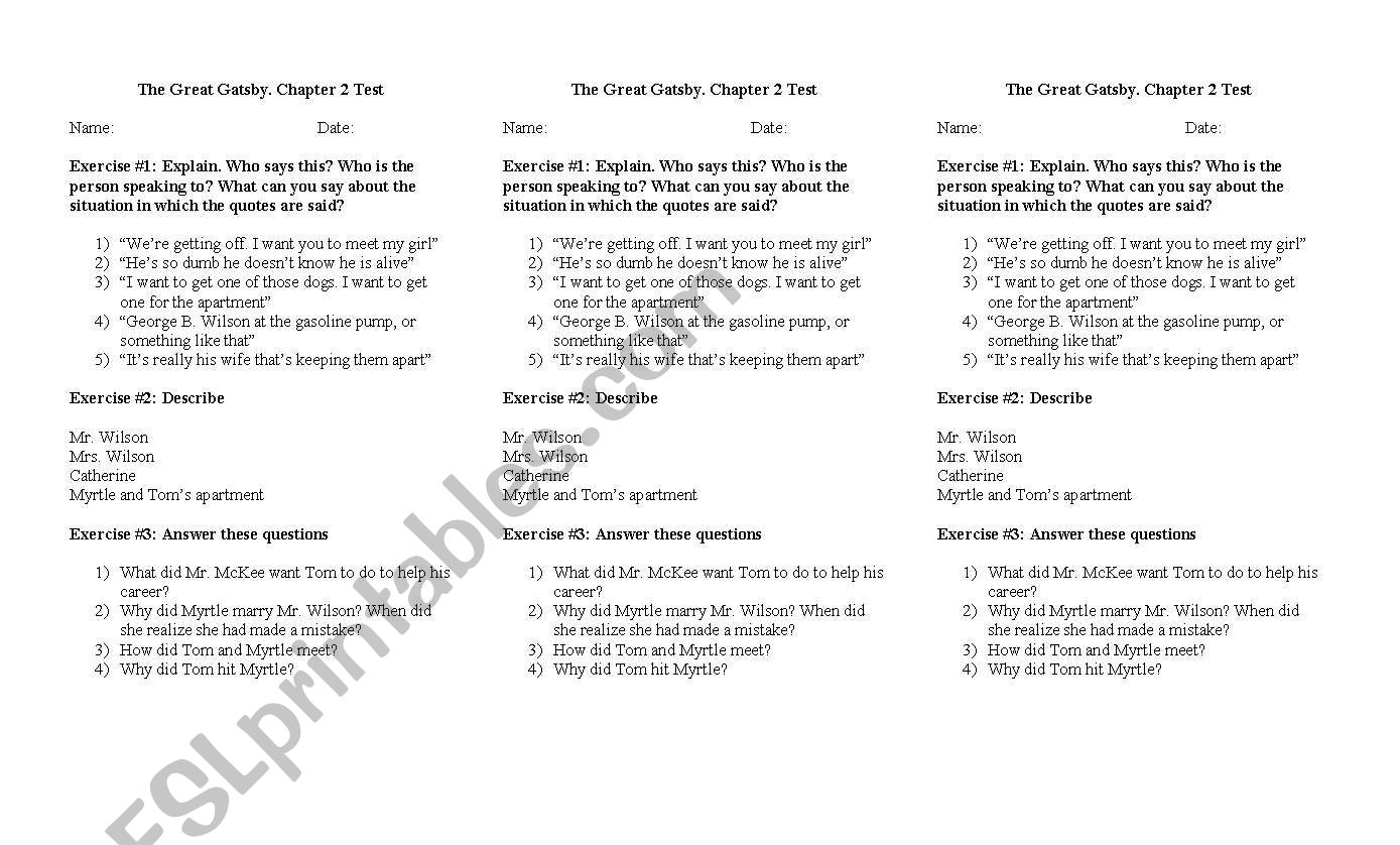 Test 2 Quot The Great Gatsby Quot Esl Worksheet By Missveronica