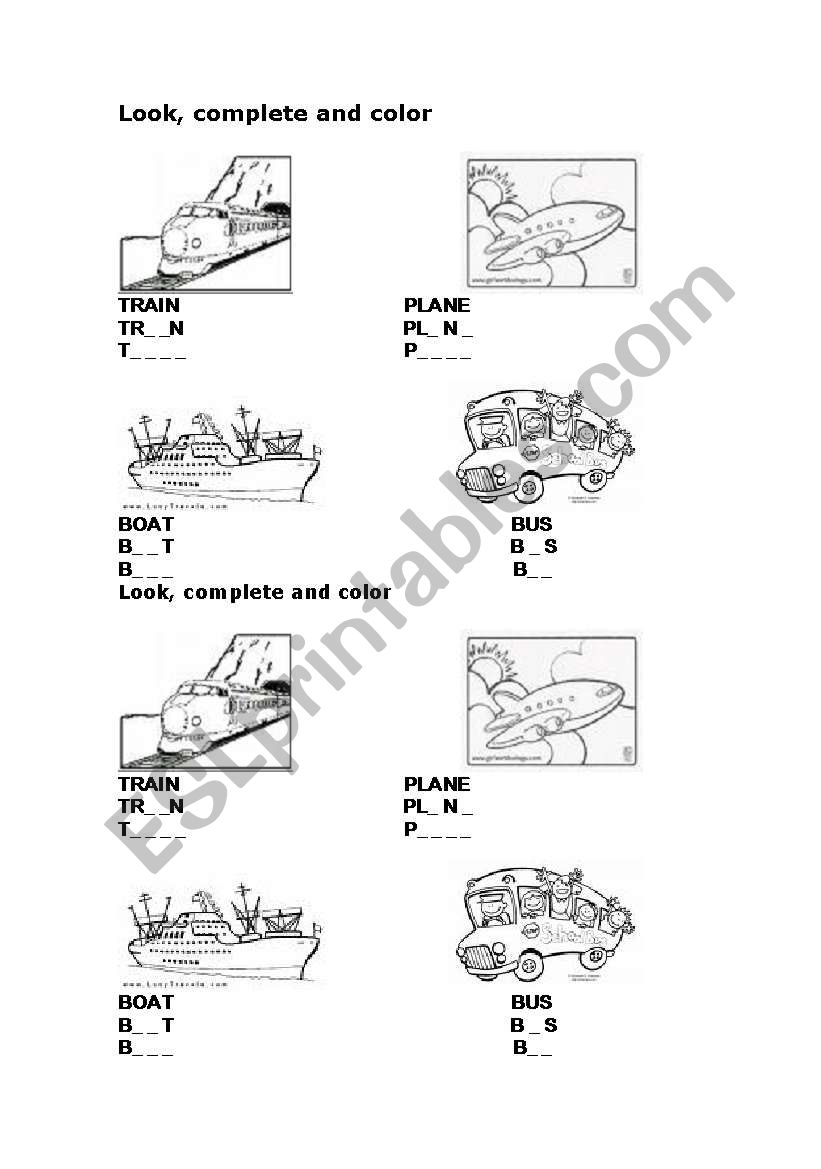 bus train plane boat worksheet