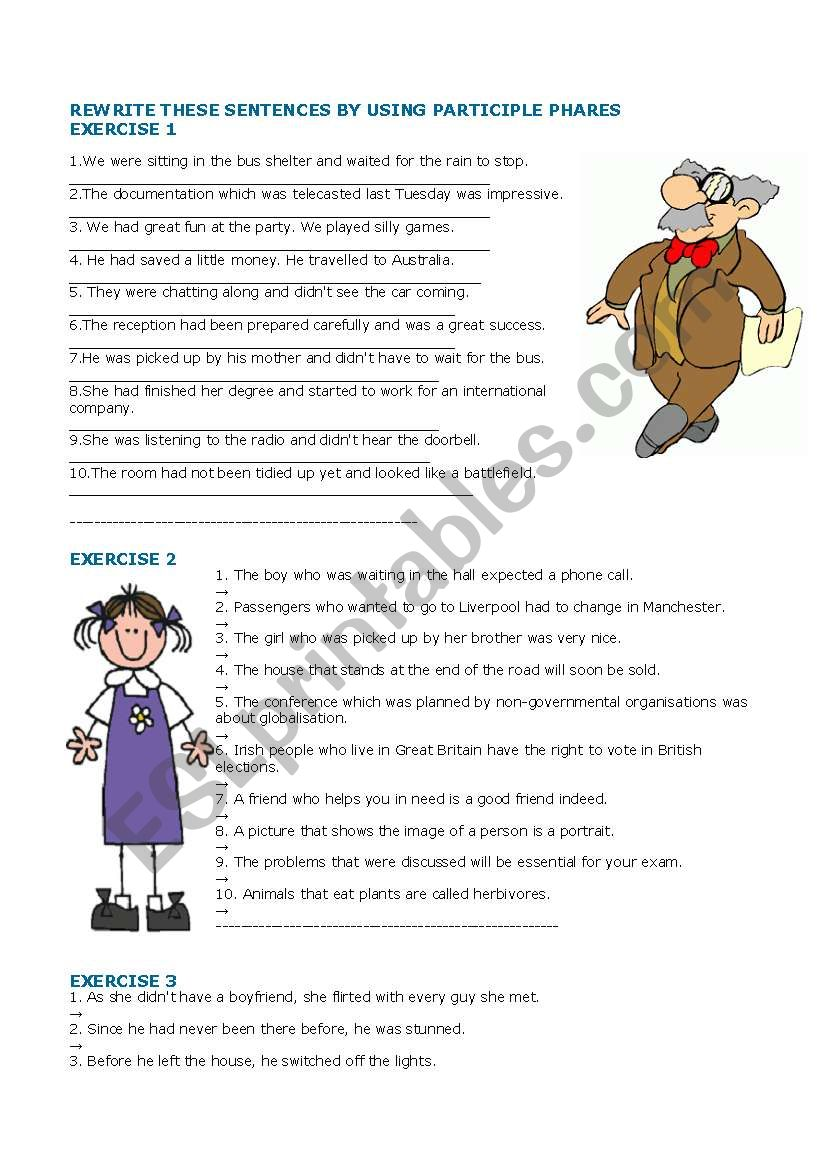 English Worksheets Rewrite These Sentences By Using Participial Phrase