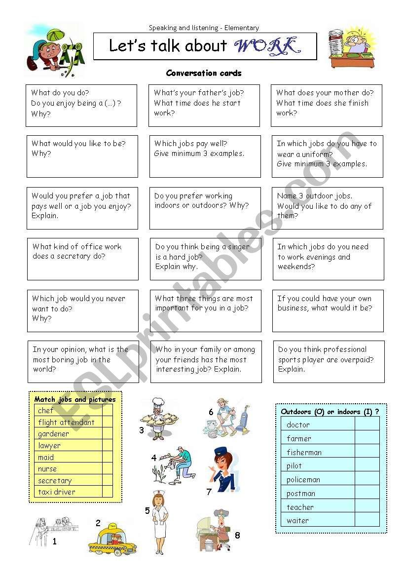 Let´s talk about WORK worksheet