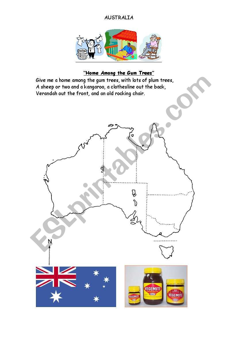 Australian Icons Worksheet - ESL worksheet by gregq