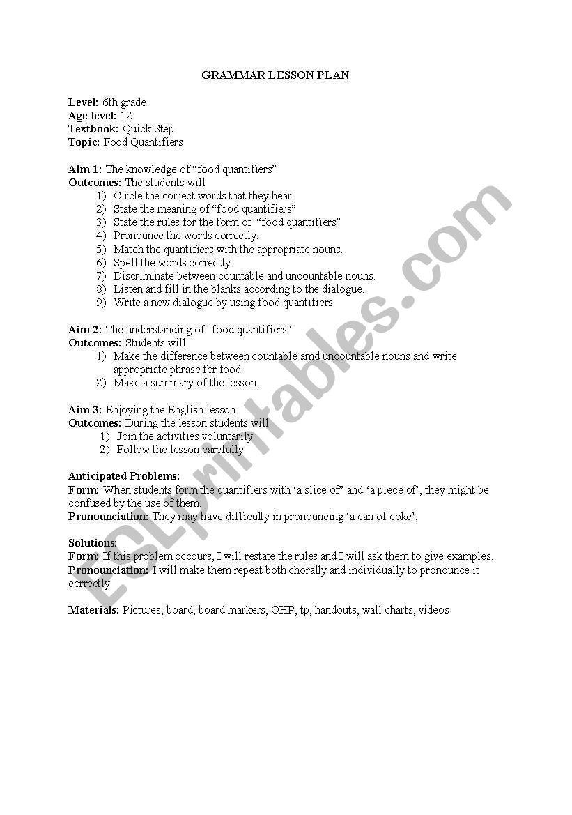 lesson plan for food quantifiers - ESL worksheet by MeralBudak