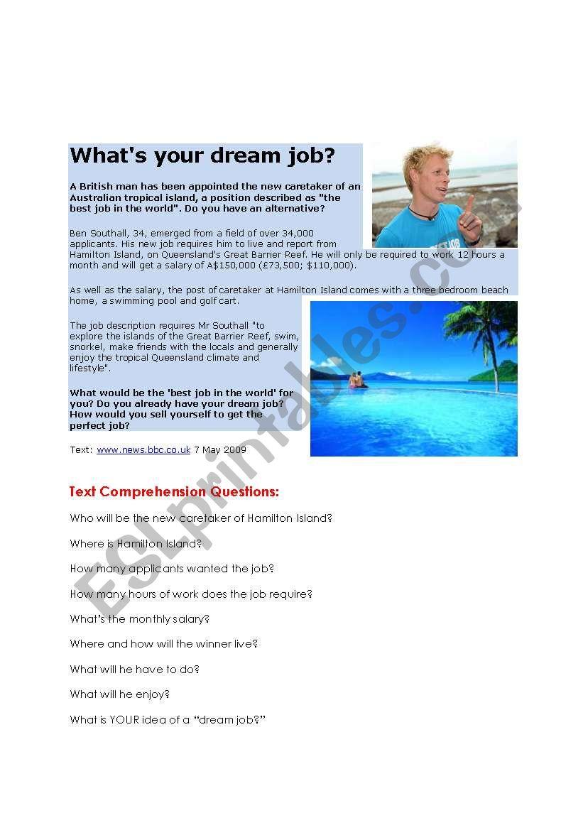 Best Job worksheet