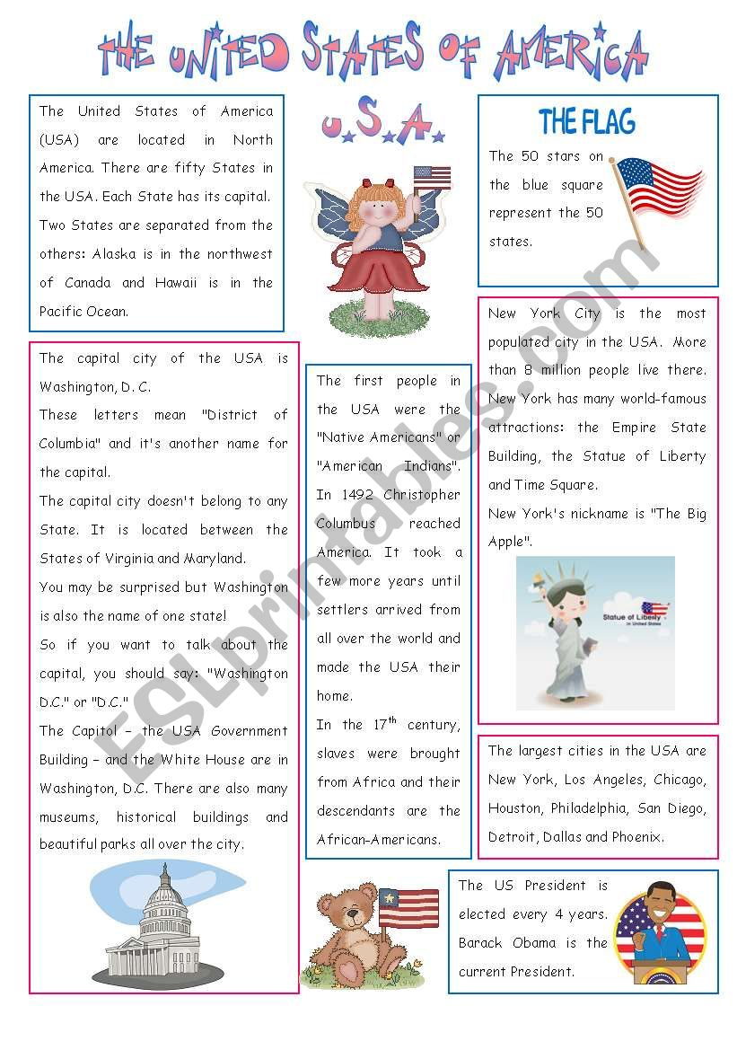 ENGLISH-SPEAKING COUNTRY (5) - THE USA  - 2 PAGES