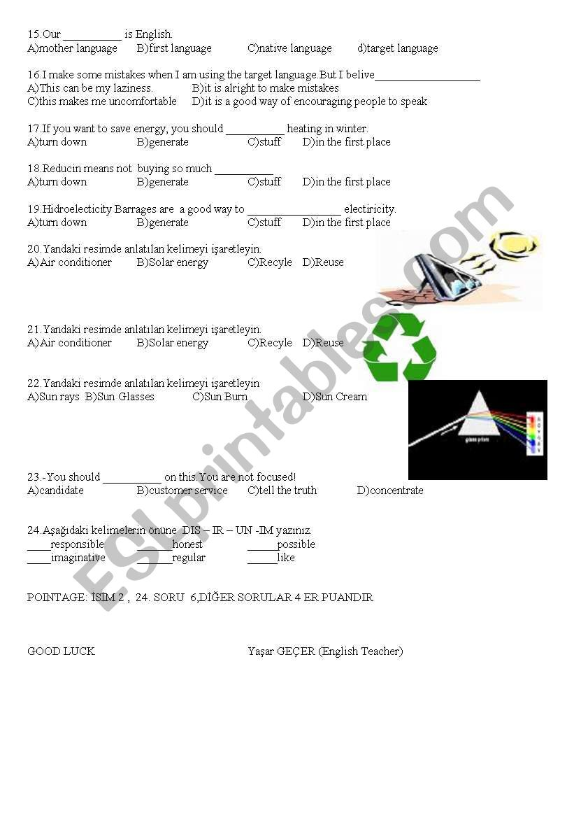 8th class exam paper - ESL worksheet by E0310025