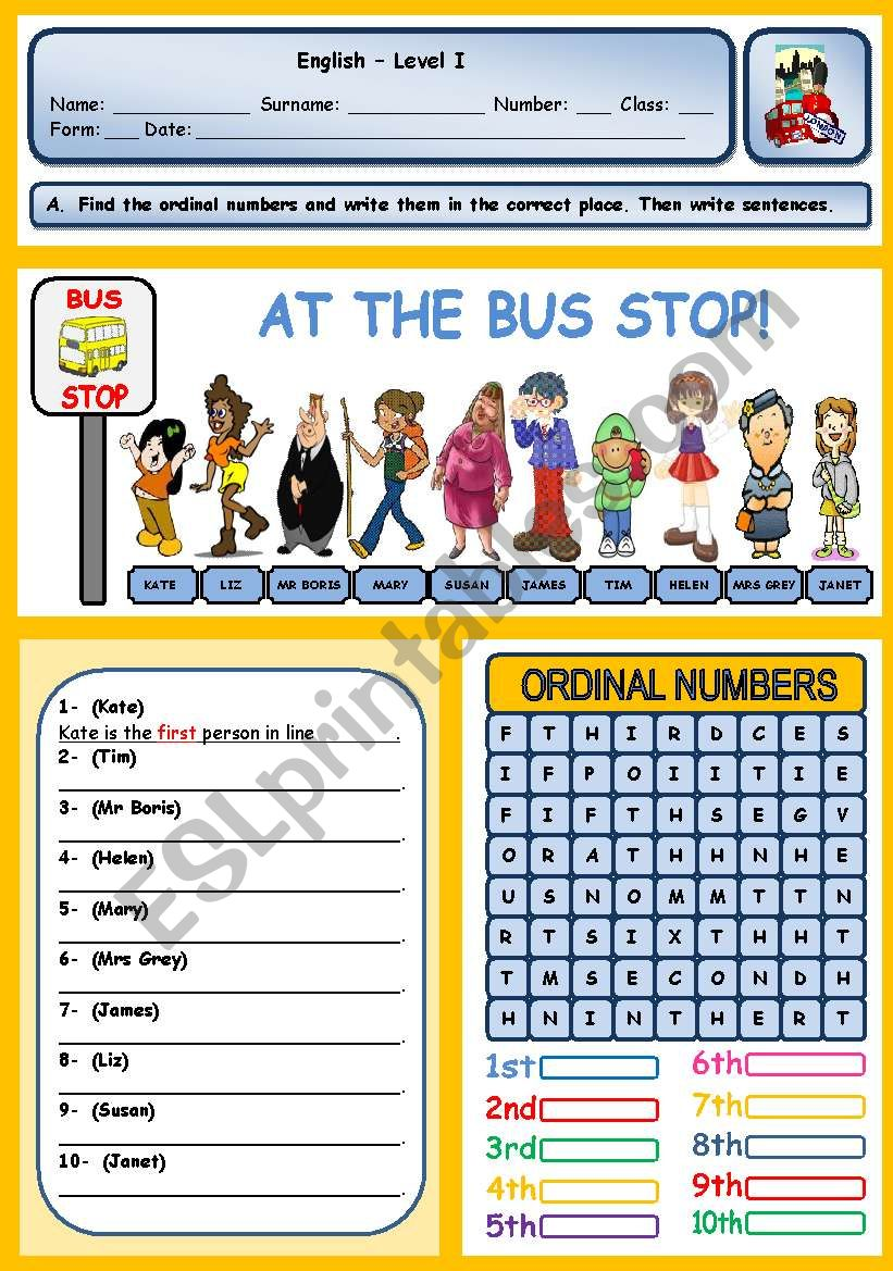 AT THE BUS STOP!  (ORDINAL NUMBERS)