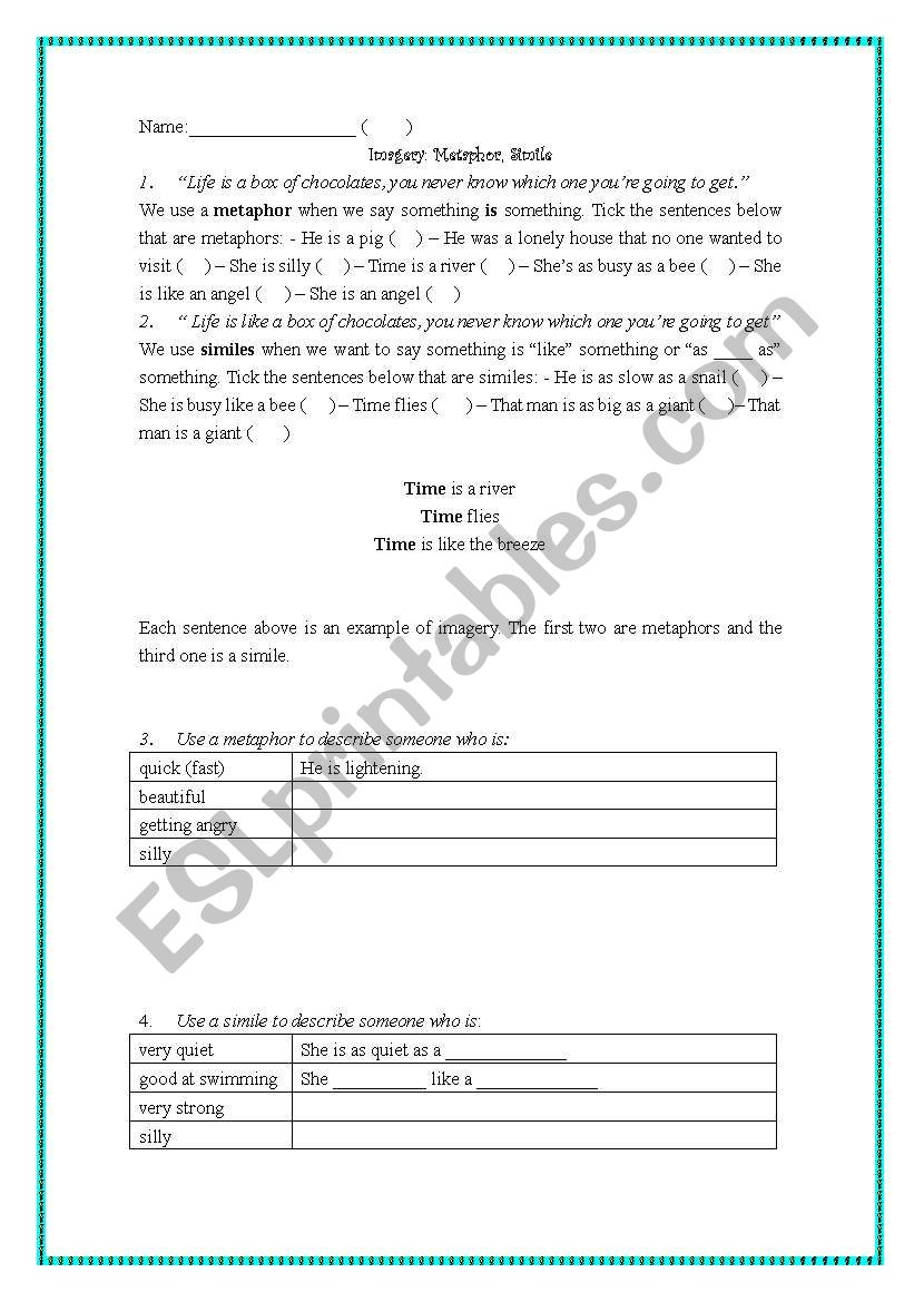 Imagery Metaphor Simile Esl Worksheet By Veca