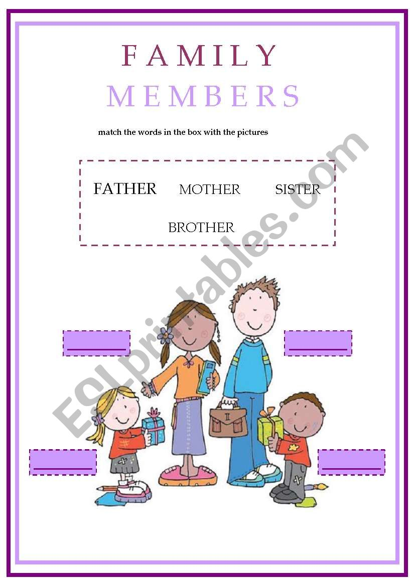 english worksheets  family members