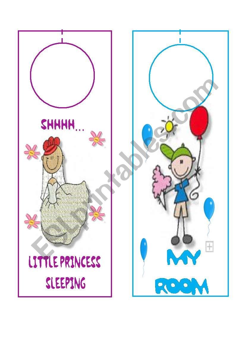 DOOR HANGERS FOR KIDS worksheet