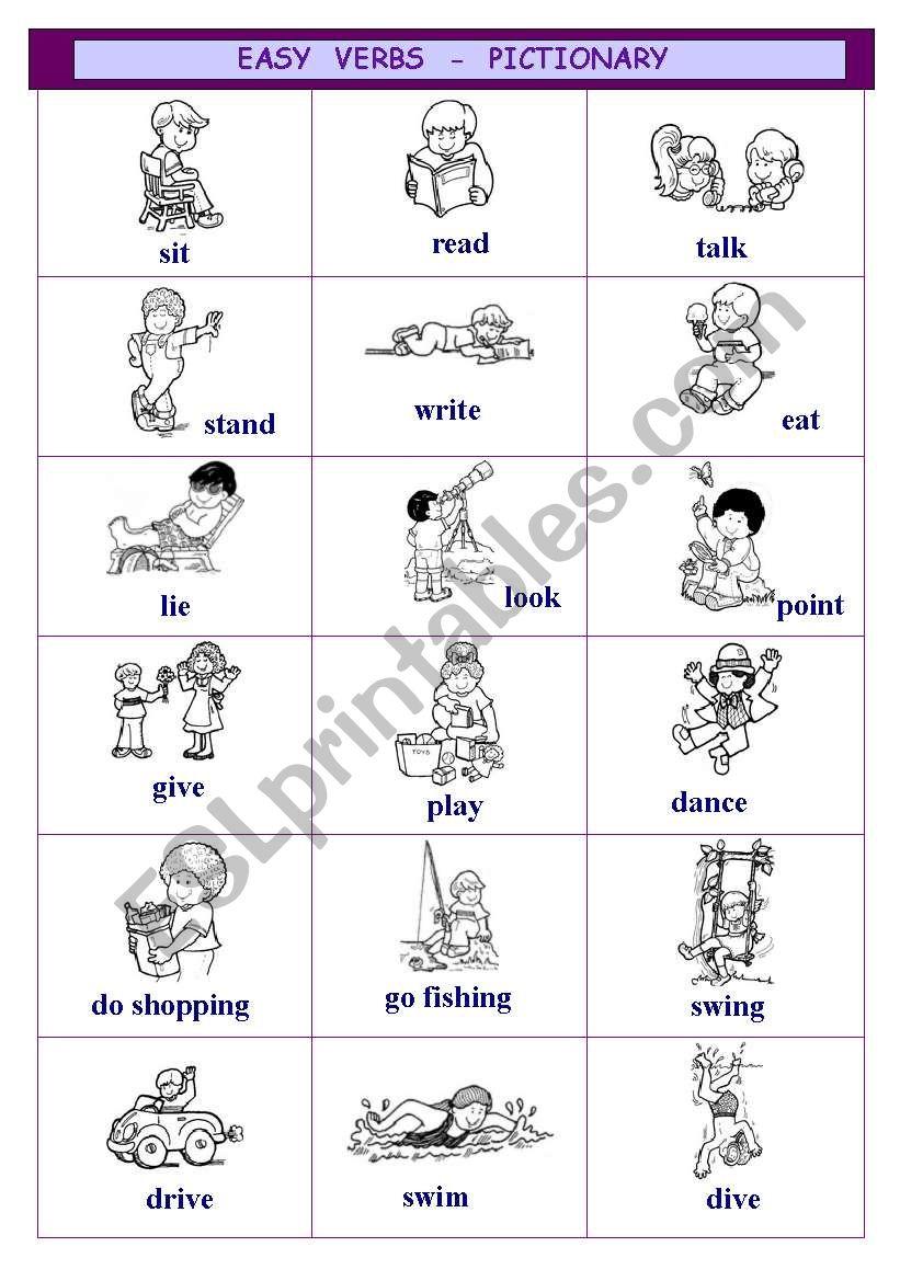 Easy verbs - pictionary worksheet