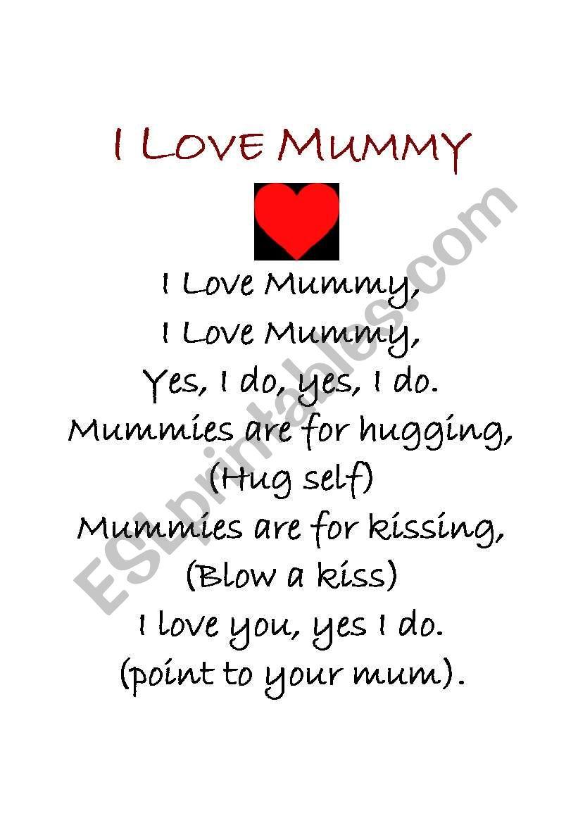 I love mummy poem worksheet