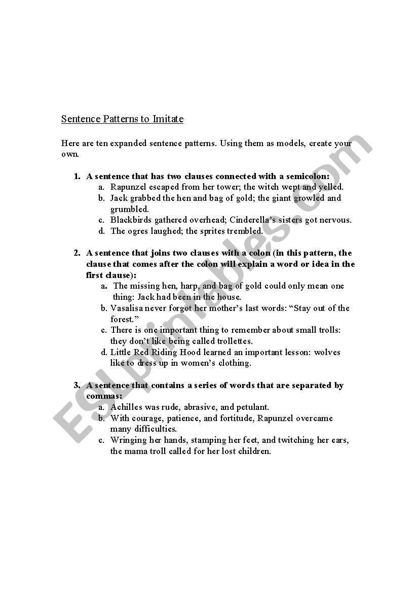 english worksheets sentence patterns to imitate. Black Bedroom Furniture Sets. Home Design Ideas