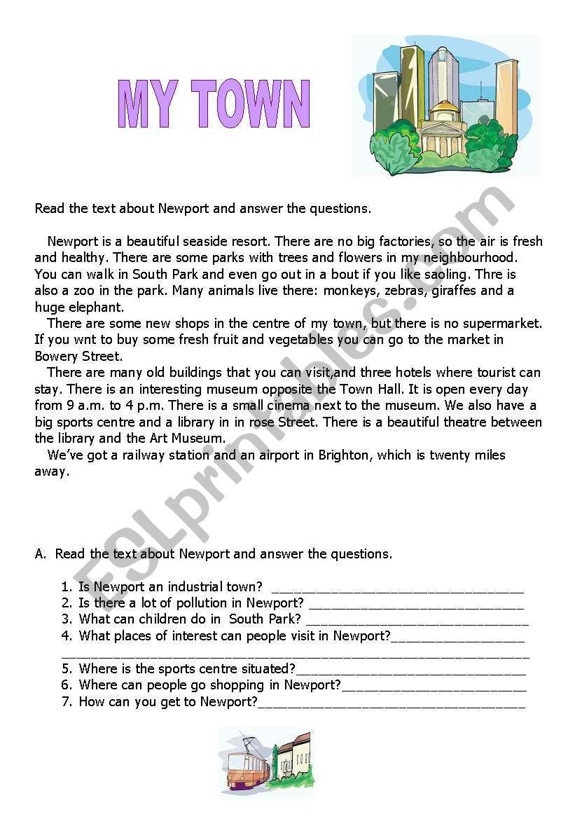My Town Esl Worksheet By Teacher Chris