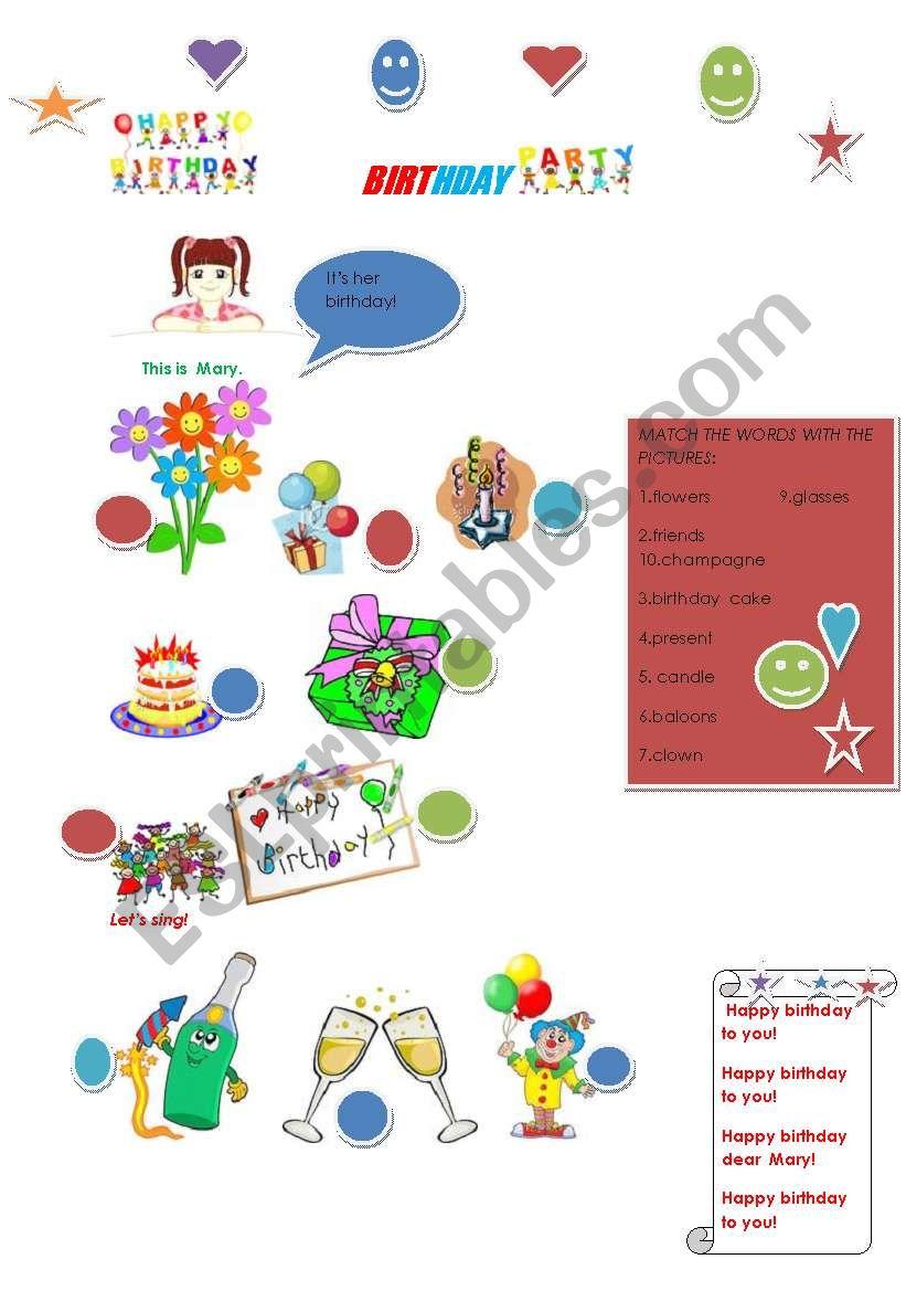 Birthday party! worksheet