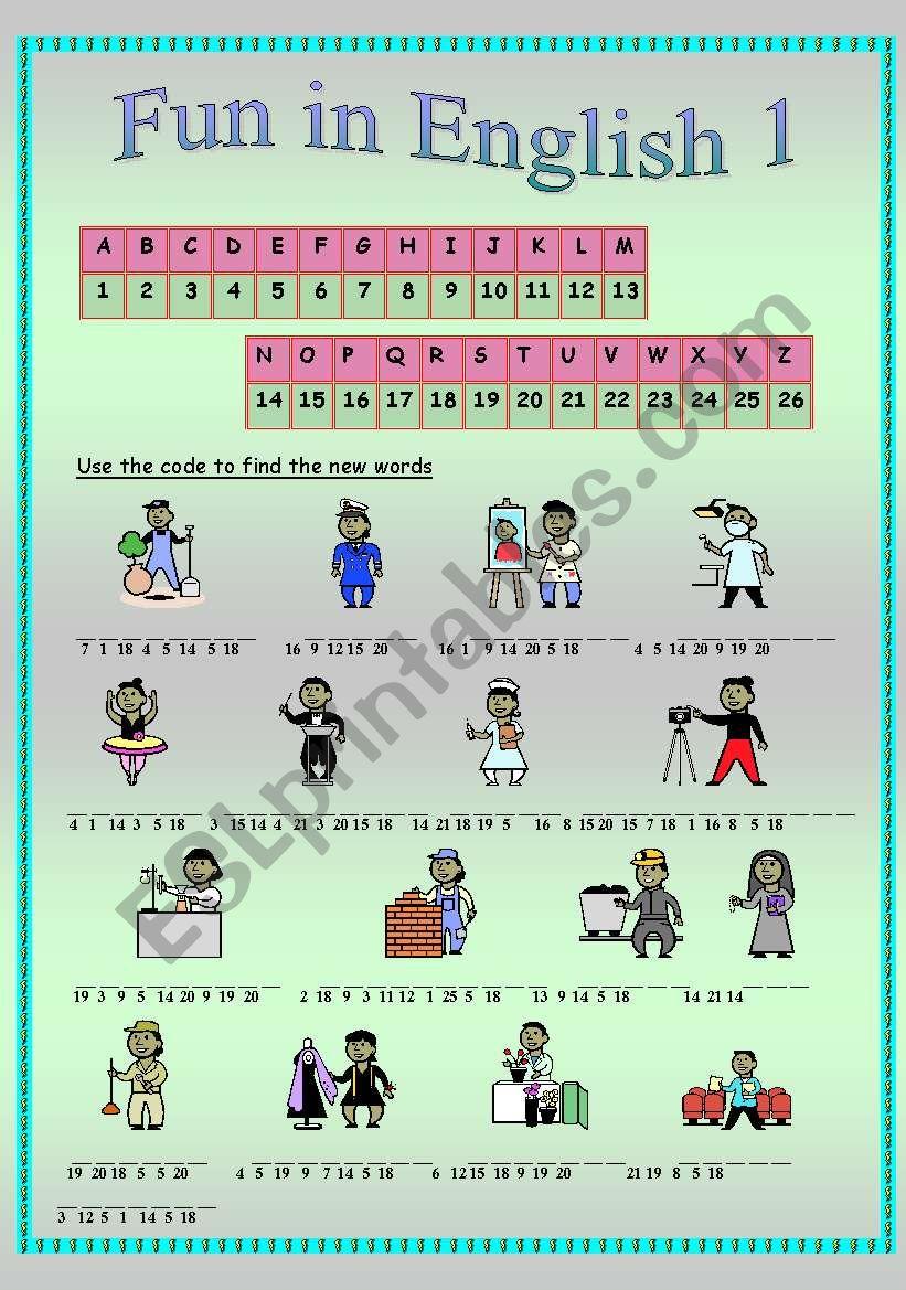 Fun in English 1 (part 2) worksheet