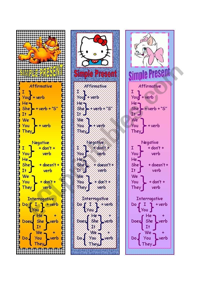 Simple Present Bookmarks worksheet