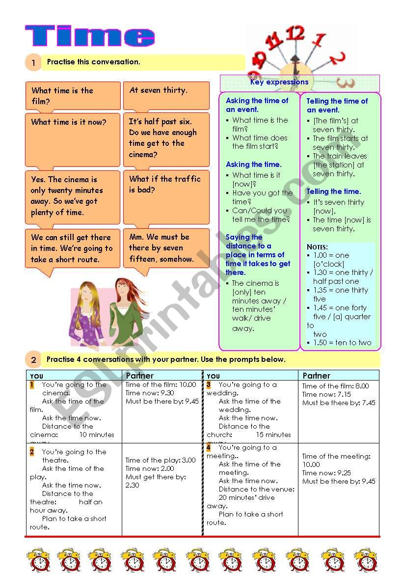 Asking and telling the time worksheet