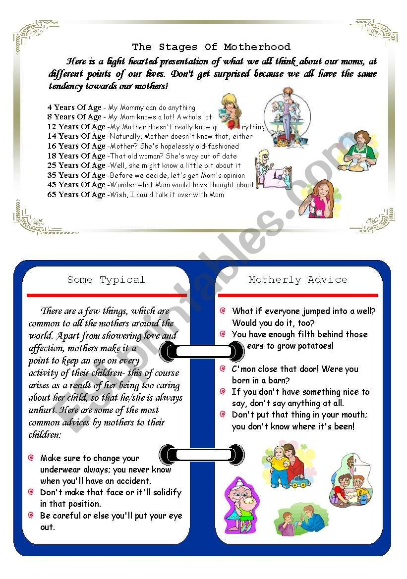 mother s day fun reading stages of motherhood motherly advice my mother taught me esl. Black Bedroom Furniture Sets. Home Design Ideas