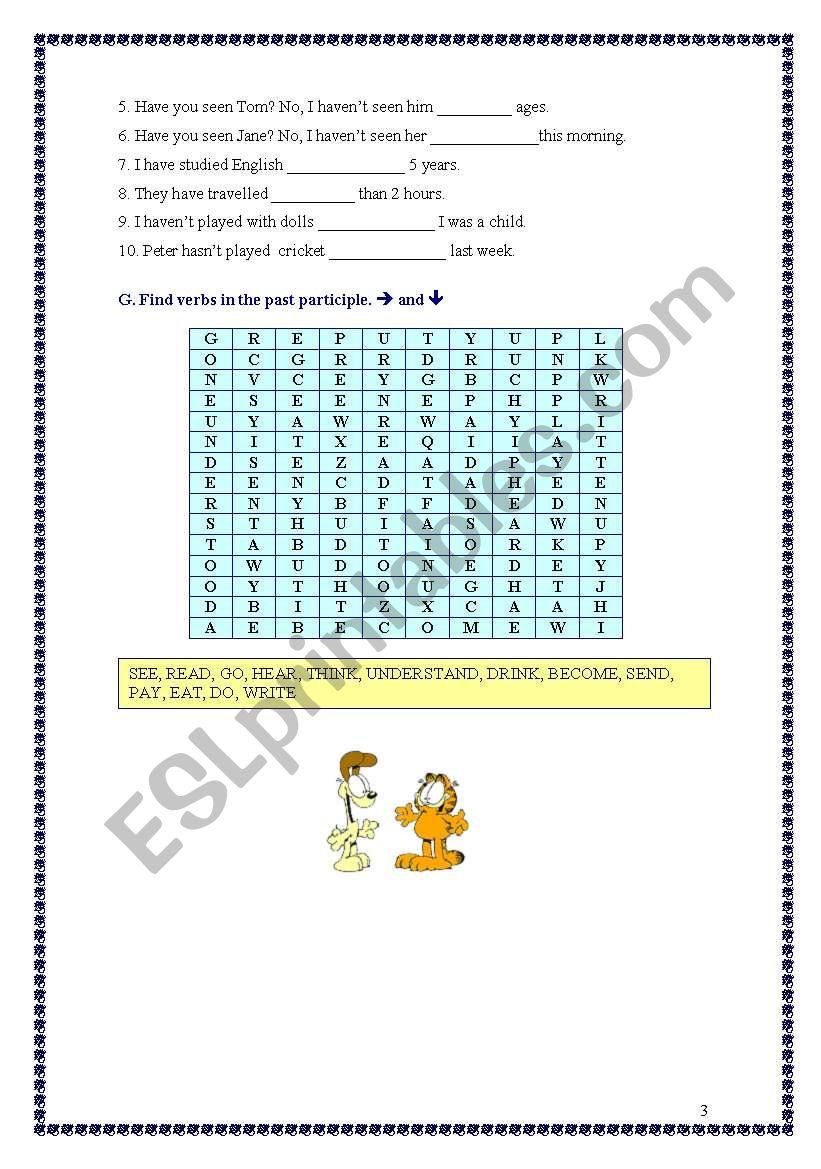 Present Perfect Exercises (10.05.09) - ESL worksheet by manuelanunes3