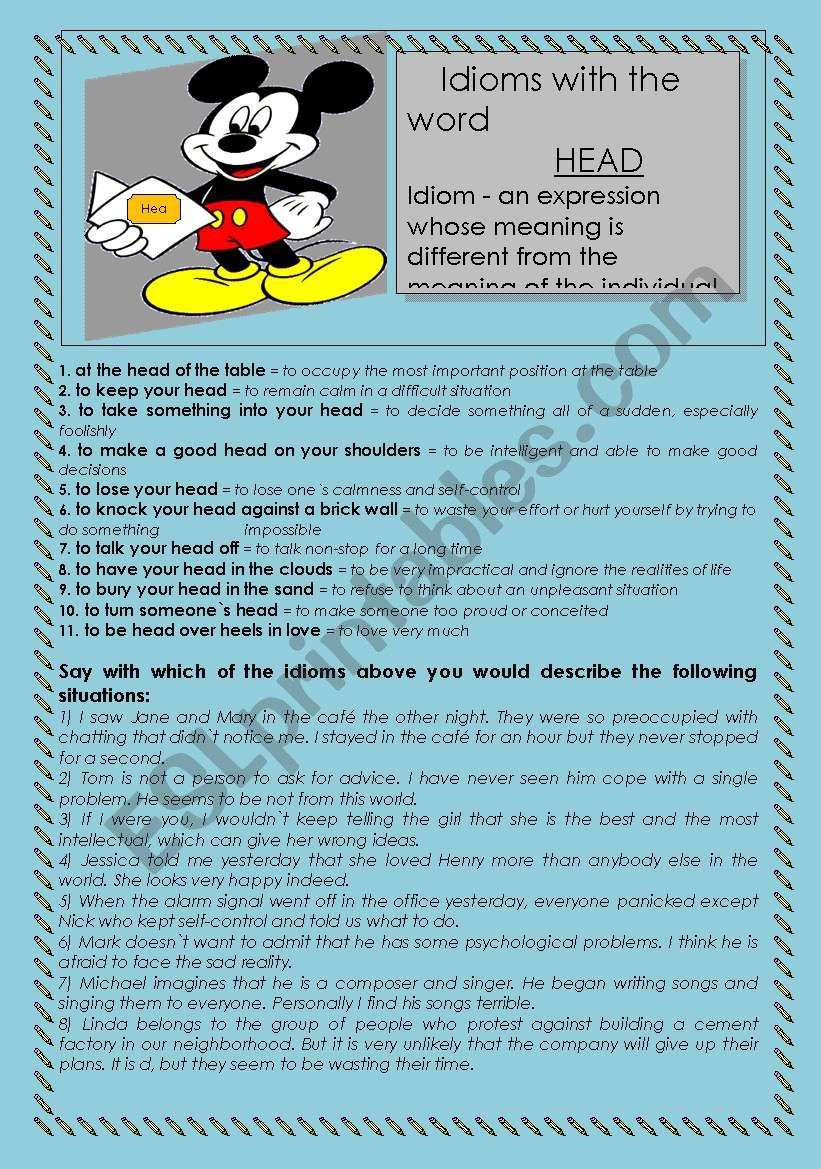 Idioms with the word Head worksheet