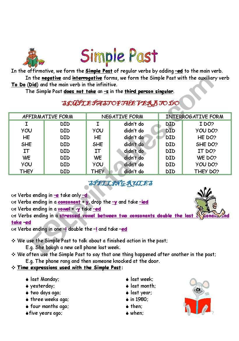 simple past spelling rules esl worksheet by montesdegira. Black Bedroom Furniture Sets. Home Design Ideas