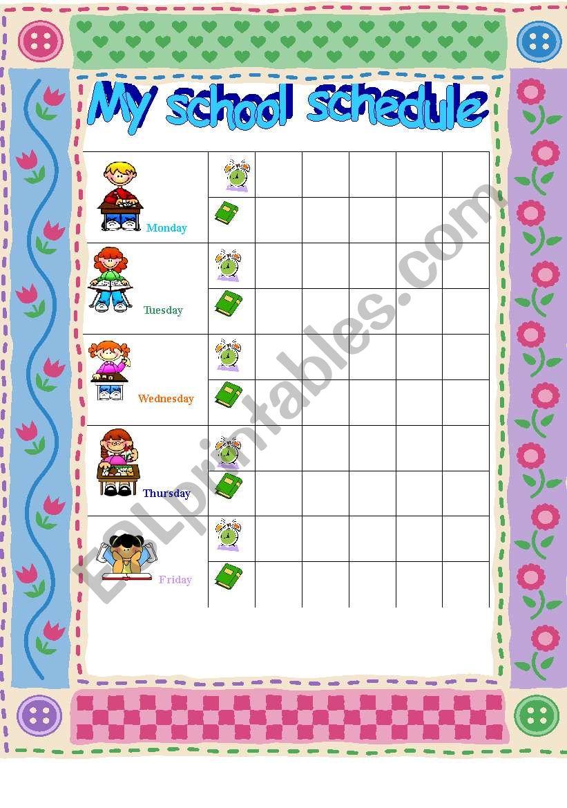 class schedule worksheet