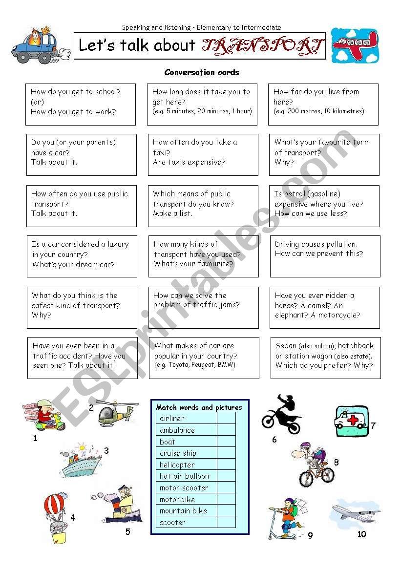 Let´s talk about TRANSPORT worksheet