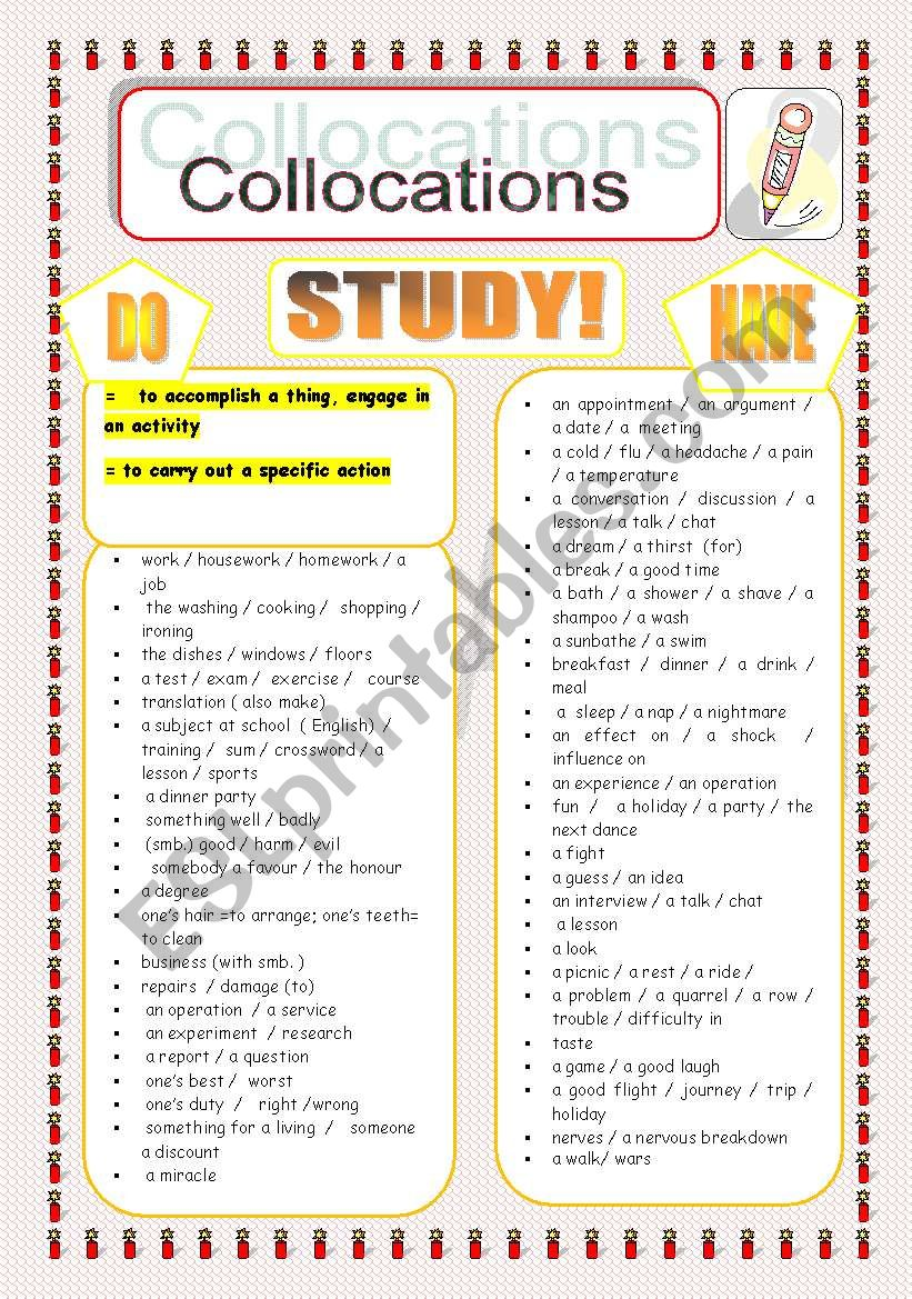 Make,get, do, have. Collocations