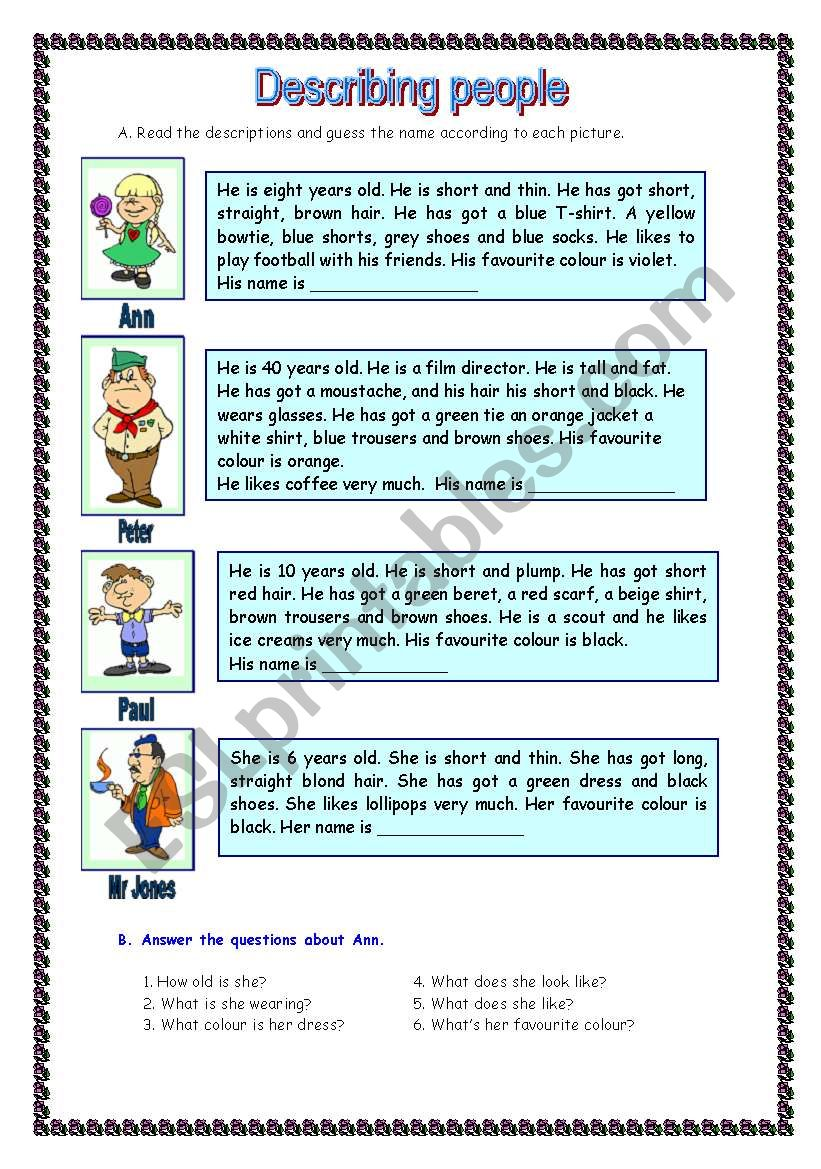 Describing people (11.05.09) worksheet
