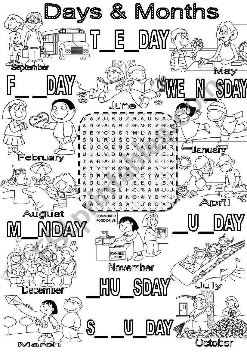 Wordsearch DAYS & MONTHS worksheet