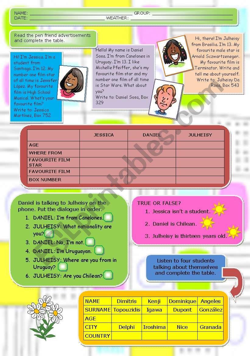 First test (11 / 5 / 09) worksheet