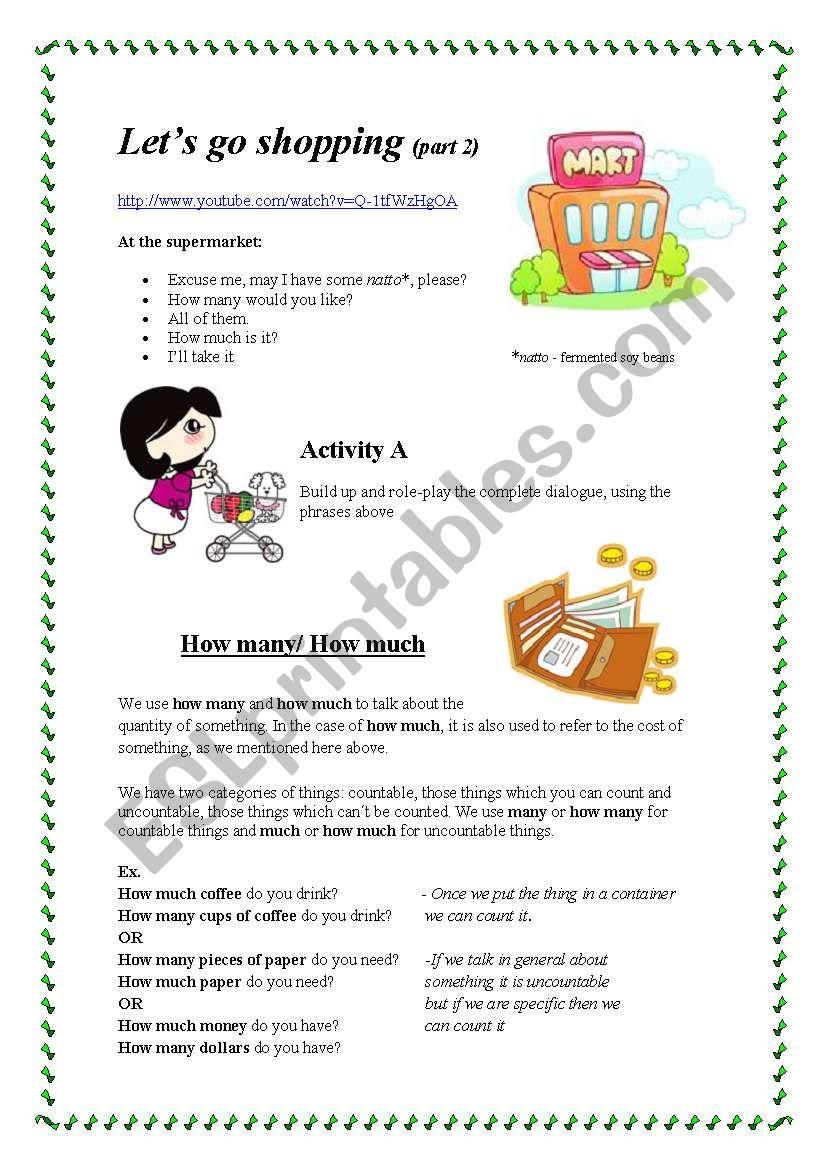 Let´s go shopping (part 2) worksheet