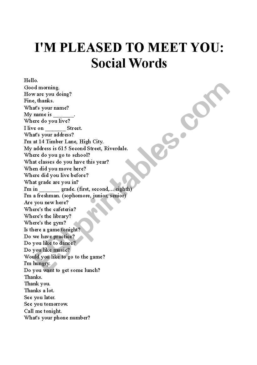 I´m Pleased to Meet You: Social Words
