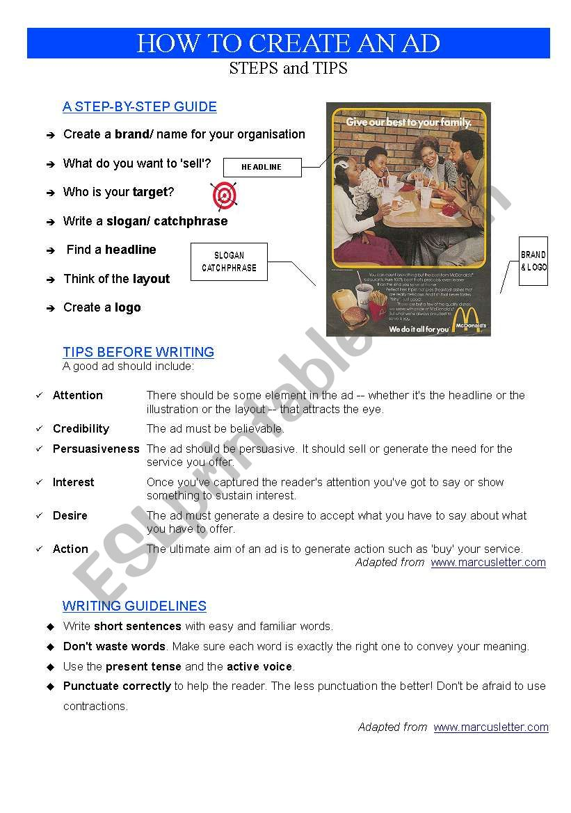 ADVERT: HOW TO CREATE AN AD worksheet