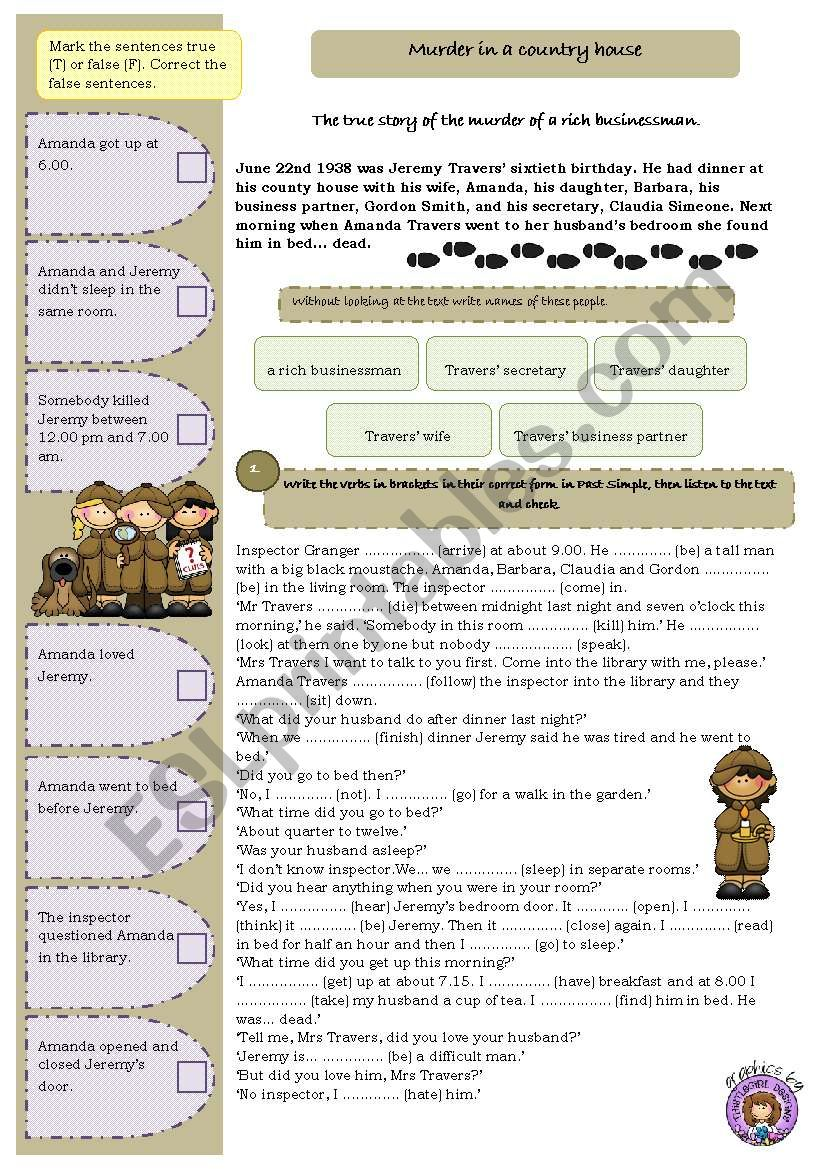 Murder in a country house worksheet