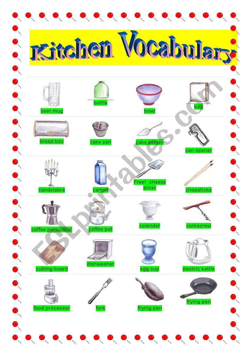 English worksheets: Kitchen Vocabulary