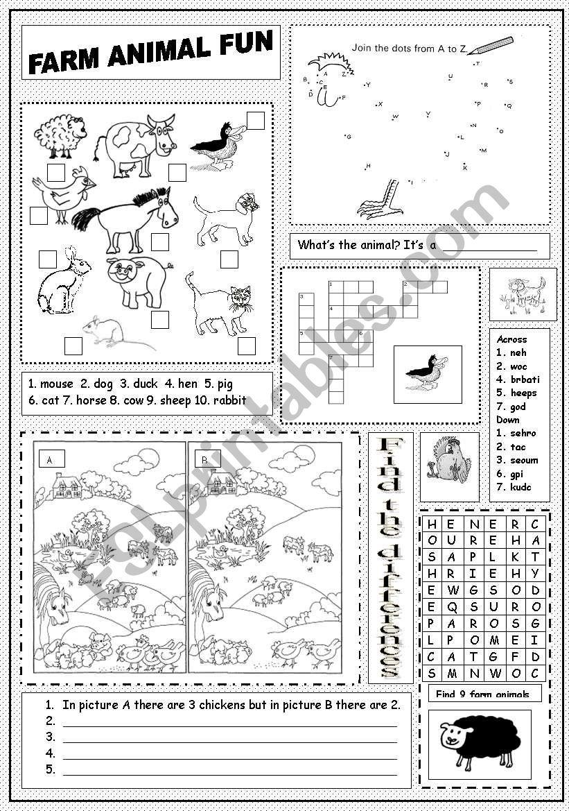 Farm Animal Fun worksheet