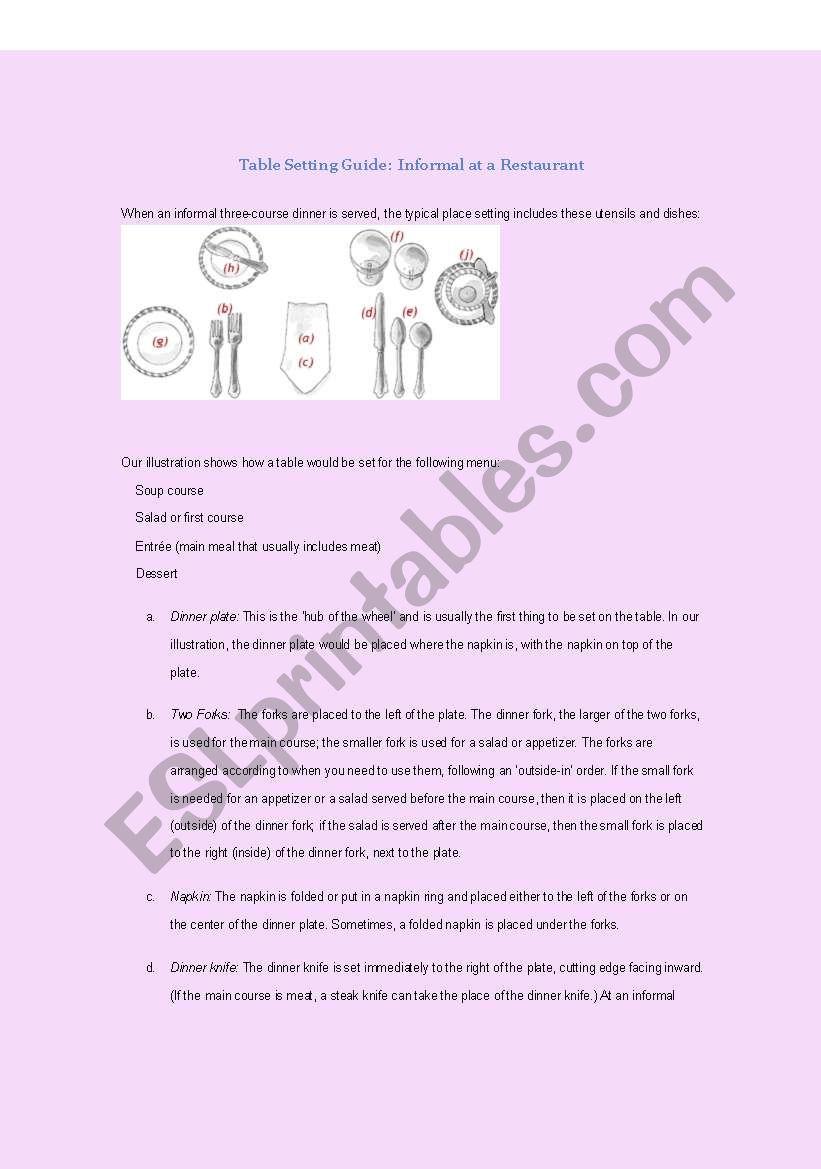 Table Place Setting: Informal worksheet