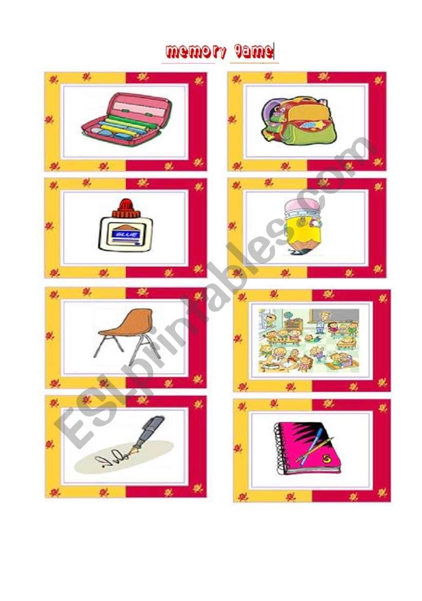 School things memory game worksheet