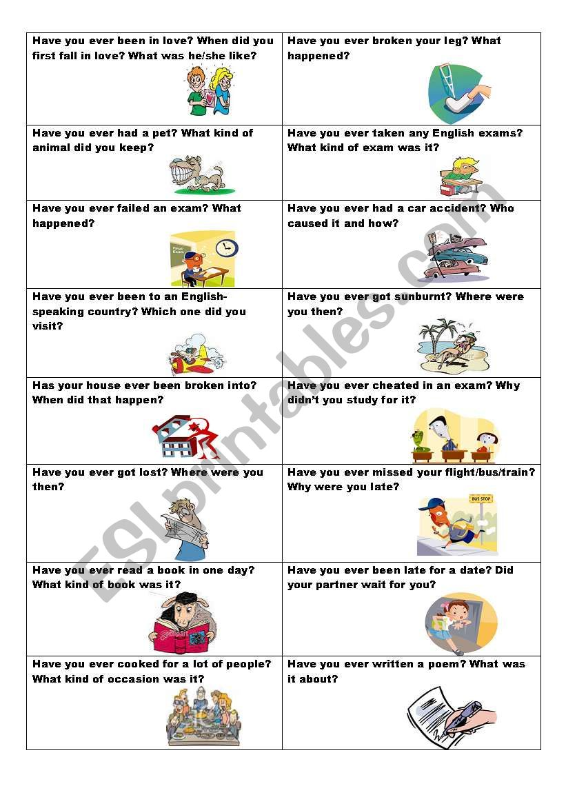 Conversation cards (No. 11) -  HAVE YOU EVER? - Present Perfect and Past Simple