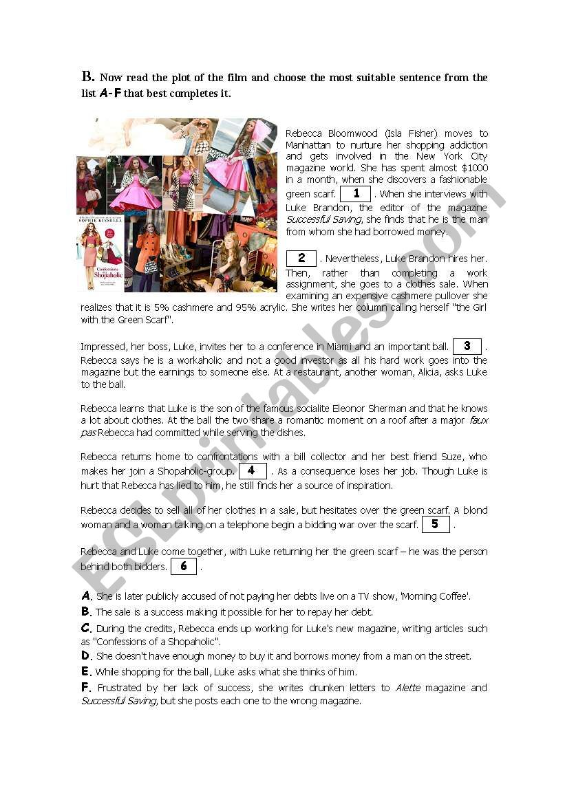 confessions of a shopaholic part 2 esl worksheet by