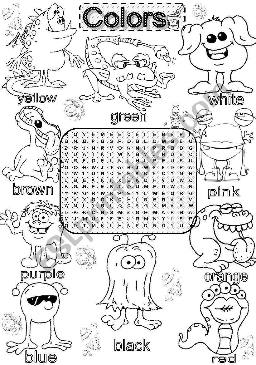 Wordsearch BASIC COLORS worksheet