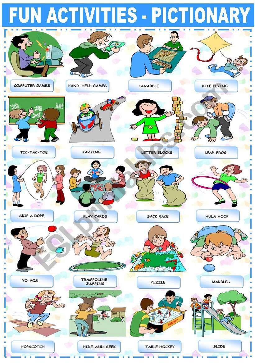 FUN ACTIVITIES - PICTIONARY worksheet