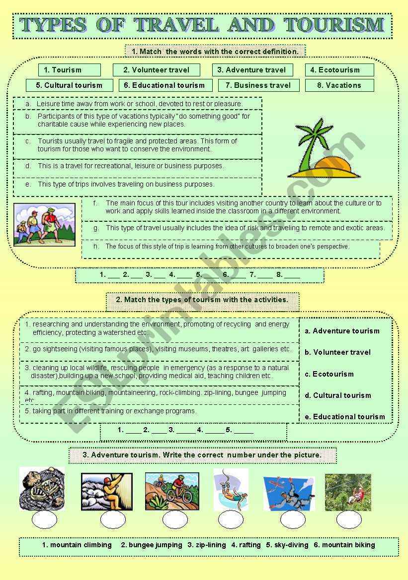Types of travel and tourism worksheet