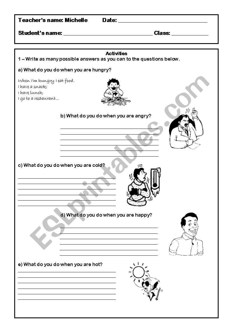 Feelings and emotions. worksheet