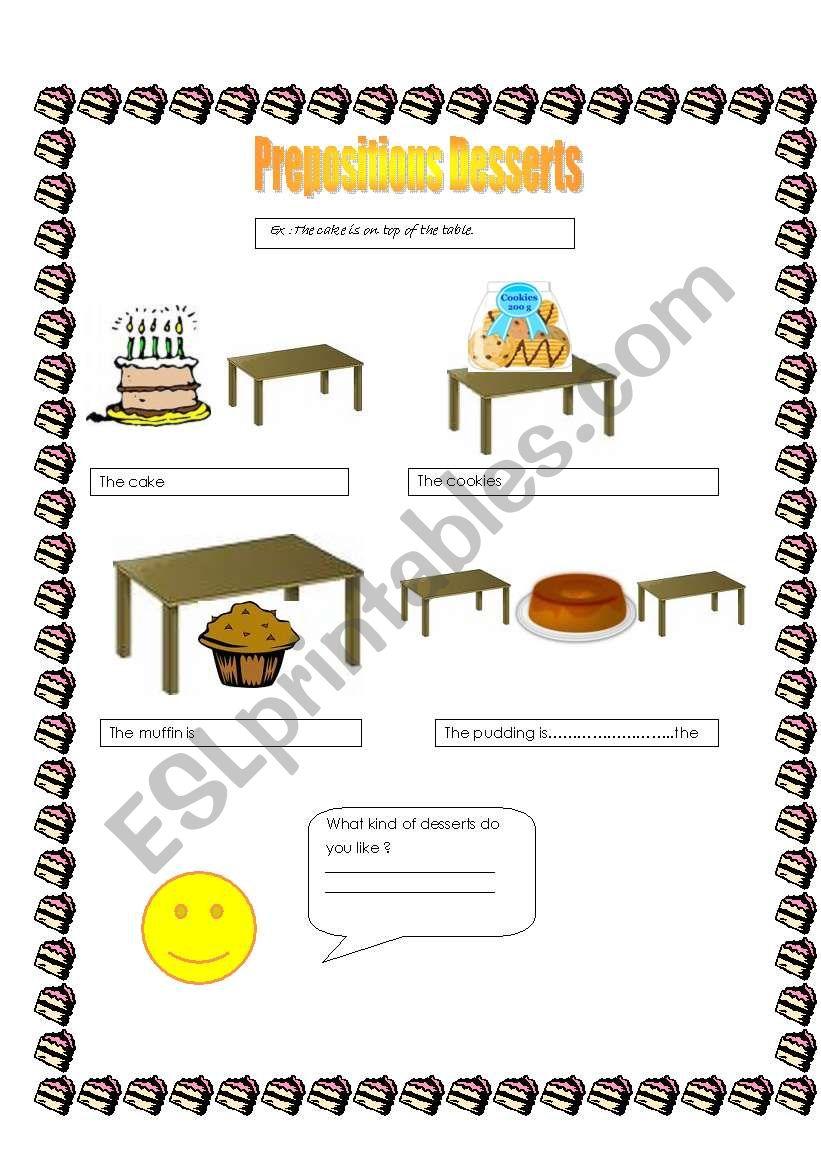 Prepositions-desserts worksheet