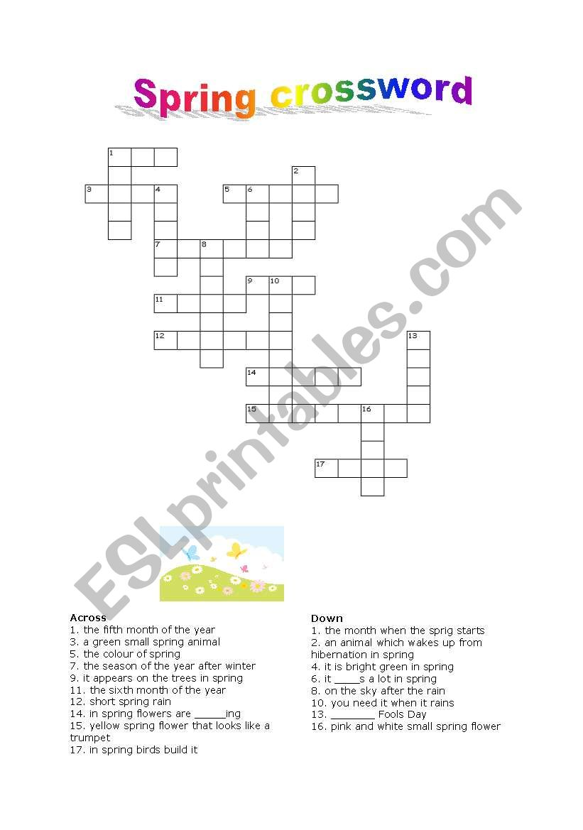 Spring Flowers Crossword Kitchen Cabinets And Flower